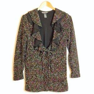 Mishca Ruffle Tie Button Boucle Boutique Jacket PM